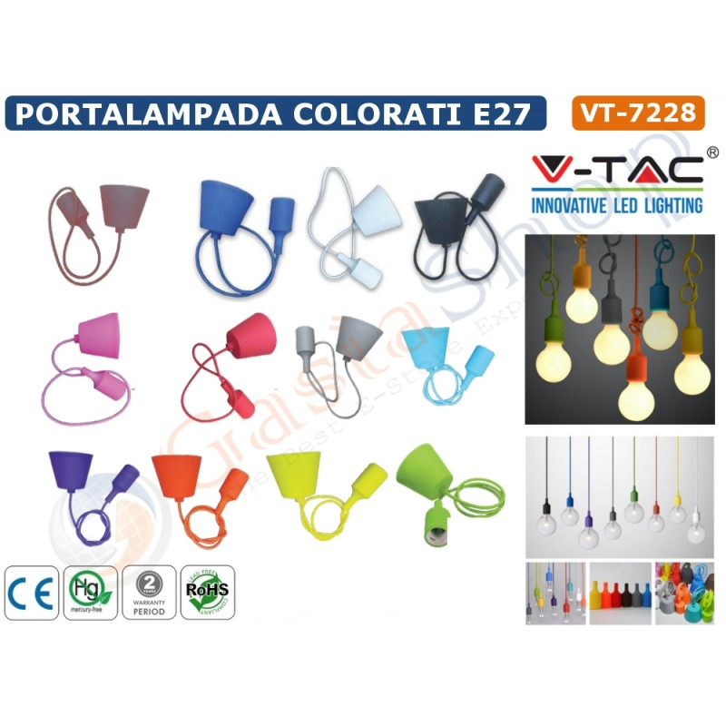 Led portalampada pendente attacco e 27 vt 7228 for Portalampada led